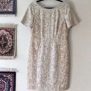 {Antonio Melani} Beige White Lace Midi Dress Sz 10